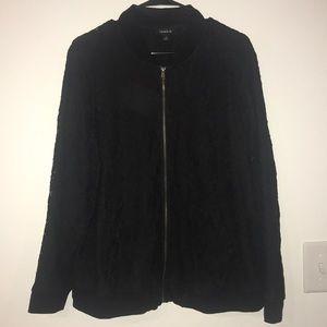 Black lace zippered bomber jacket - NWOT